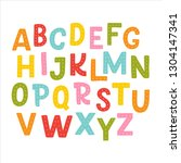 cute hand drawn alphabet made... | Shutterstock .eps vector #1304147341