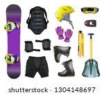 set of snowboard equipment and... | Shutterstock . vector #1304148697