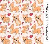 welsh corgi seamless pattern ...   Shutterstock . vector #1304155537
