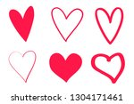 colorful grunge hearts on... | Shutterstock . vector #1304171461