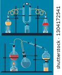 composition of chemical flasks  ... | Shutterstock . vector #1304172541