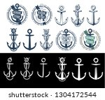 large set of isolated ship... | Shutterstock . vector #1304172544