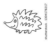 cartoon doodle linear hedgehog... | Shutterstock .eps vector #1304178217