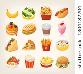 colorful breakfast food icons.... | Shutterstock .eps vector #1304182204