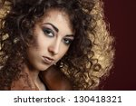 portrait of beautiful girl with ... | Shutterstock . vector #130418321