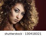portrait of beautiful girl with ... | Shutterstock . vector #130418321