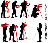 set cameraman with video camera.... | Shutterstock .eps vector #1304194924