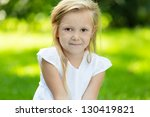 happy smiling child sitting on... | Shutterstock . vector #130419821