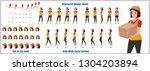 character model sheet with walk ... | Shutterstock .eps vector #1304203894