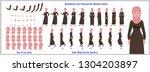 character model sheet with walk ... | Shutterstock .eps vector #1304203897