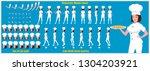 character model sheet with walk ... | Shutterstock .eps vector #1304203921