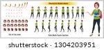 character model sheet with walk ... | Shutterstock .eps vector #1304203951