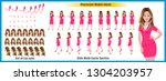 character model sheet with walk ... | Shutterstock .eps vector #1304203957