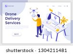 landing page with man receiving ... | Shutterstock .eps vector #1304211481