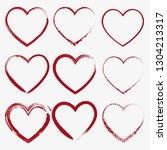 set of nine hand drawn heart.... | Shutterstock .eps vector #1304213317