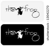 "Black and white vector image of frog with playful ""label"", suitable for use as symbols or in logo design. - stock vector"