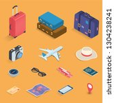 travel icons in isometric style.... | Shutterstock .eps vector #1304238241