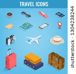 travel icons in isometric style.... | Shutterstock .eps vector #1304238244