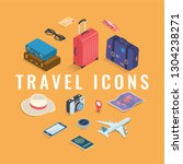 travel icons in isometric style.... | Shutterstock .eps vector #1304238271