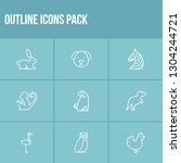 zoo icon set and dinosaur with...