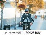 hipster businessman commuter... | Shutterstock . vector #1304251684
