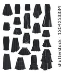 Set Of Silhouettes Of Women's...
