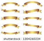retro gold ribbons and banners... | Shutterstock .eps vector #1304260234