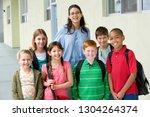 portrait of elementary school... | Shutterstock . vector #1304264374