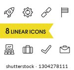 commerce icons set with check ...