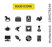 healthy icons set with fish ... | Shutterstock . vector #1304278144