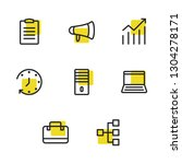 economy icons set with bullhorn ...