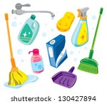 cleaning kit icons | Shutterstock .eps vector #130427894