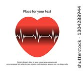 red heart with white pulse and... | Shutterstock .eps vector #1304288944