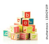 wooden toy cubes with letters....