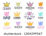 set of crown and lettering... | Shutterstock .eps vector #1304299567