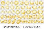 set of yellow translucent water ... | Shutterstock .eps vector #1304304154