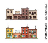 buildings before and after... | Shutterstock .eps vector #1304308861