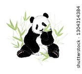 Cute Panda Bear Eating Bamboo...