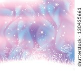 Vector fantasy landscape with polar lights forming blue swirls and magic flowers background.