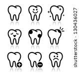 tooth   teeth vector icons set | Shutterstock .eps vector #130436027