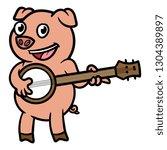 cartoon pig playing banjo | Shutterstock .eps vector #1304389897