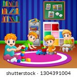 children playing with toys in... | Shutterstock .eps vector #1304391004