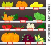 set of fruit and vegetables on... | Shutterstock .eps vector #1304392897