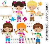 painting vector cartoon... | Shutterstock .eps vector #1304405854