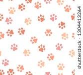 dog paw seamless pattern vector ... | Shutterstock .eps vector #1304413264