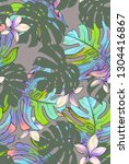 tropical pattern with 80th... | Shutterstock . vector #1304416867