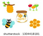 coloured bees and honey  | Shutterstock .eps vector #1304418181
