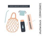 zero waste everyday kit. vector ...   Shutterstock .eps vector #1304418601