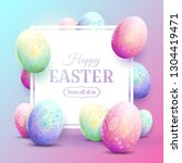 happy easter greeting card with ... | Shutterstock .eps vector #1304419471