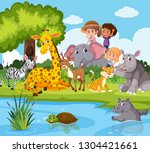 animals and people near pond... | Shutterstock .eps vector #1304421661